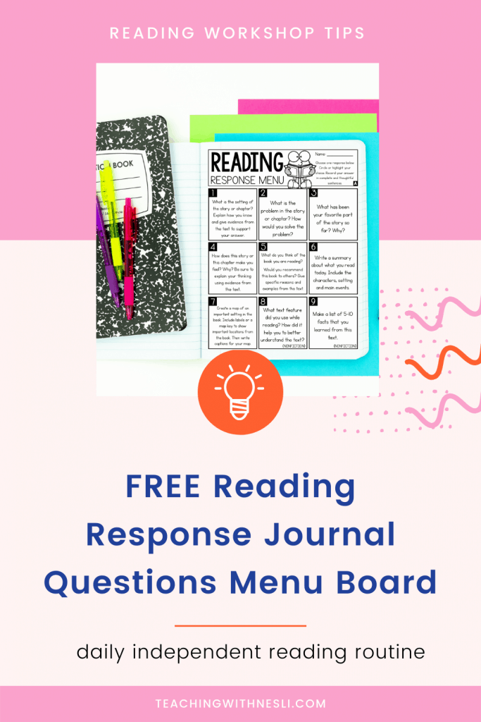reading response journal prompts free